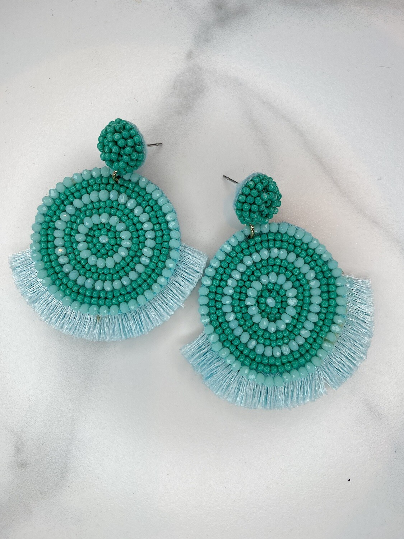 Round Beaded and Tassel Earrings