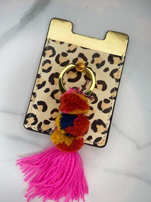 NATURAL LIFE PHONE POCKET TASSEL CHEETAH