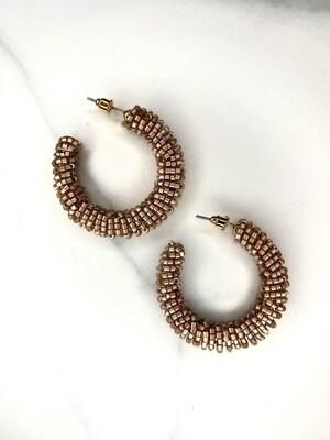 Sparkle Seed Bead Detailed Hoop Earrings