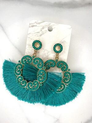 Beaded Detail Circle Tassel Earrings