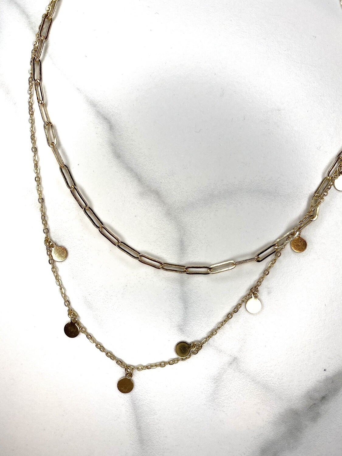 WH Gold Chain Layered Necklace With Circles