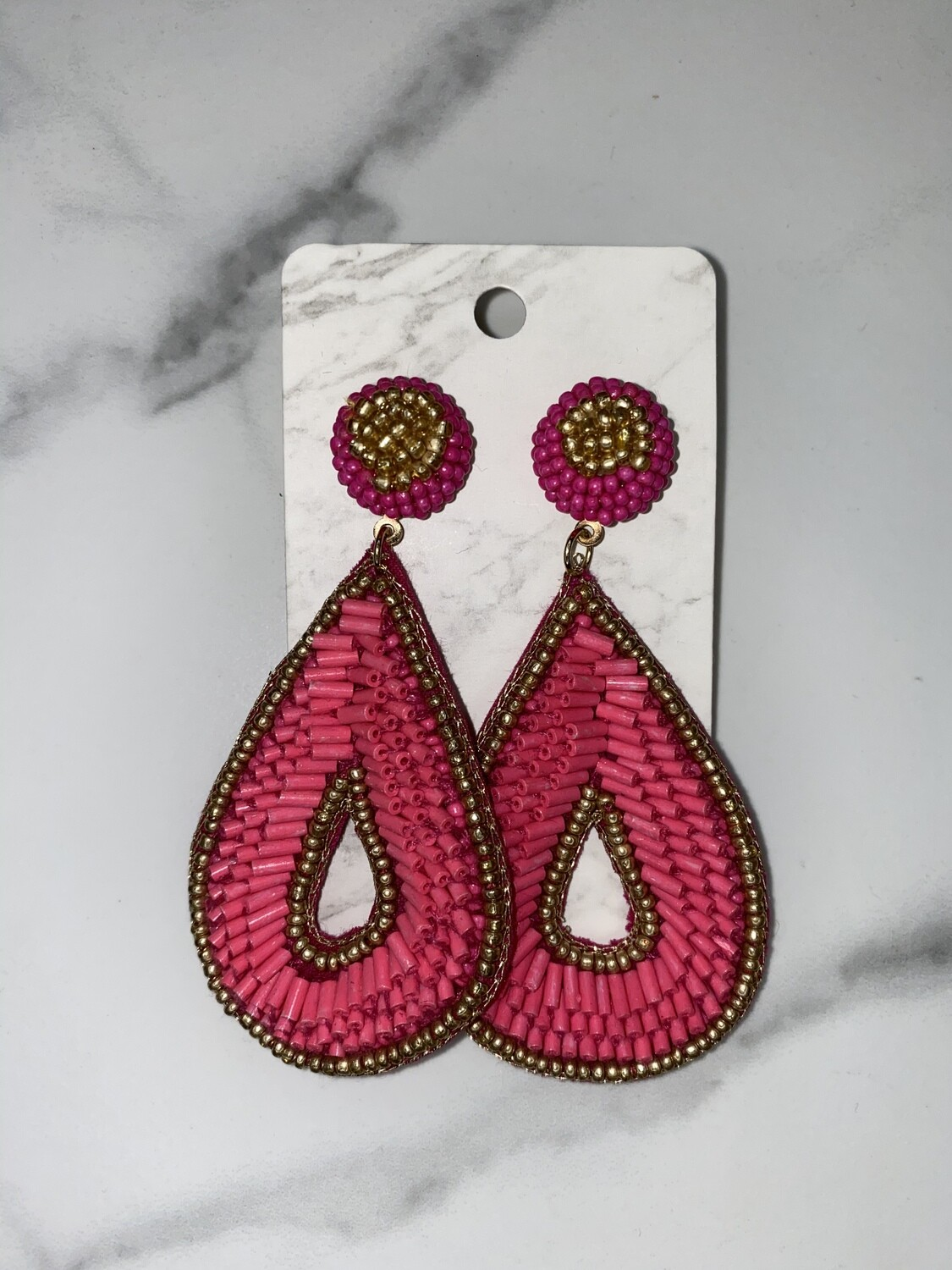 Seed Bead Teardrop With Gold Outline Earrings