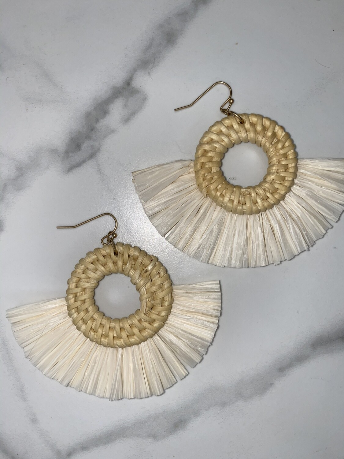 Raffia and Woven Circle Earrings