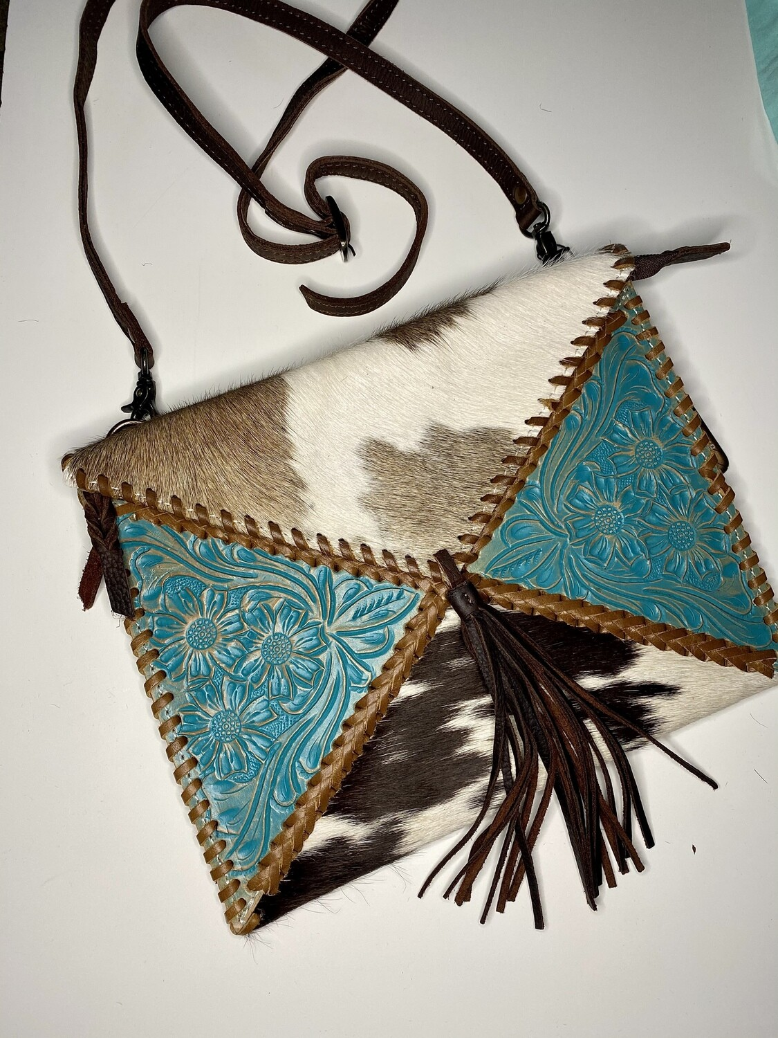 Hand Tooled Leather & Cowhide Crossbody