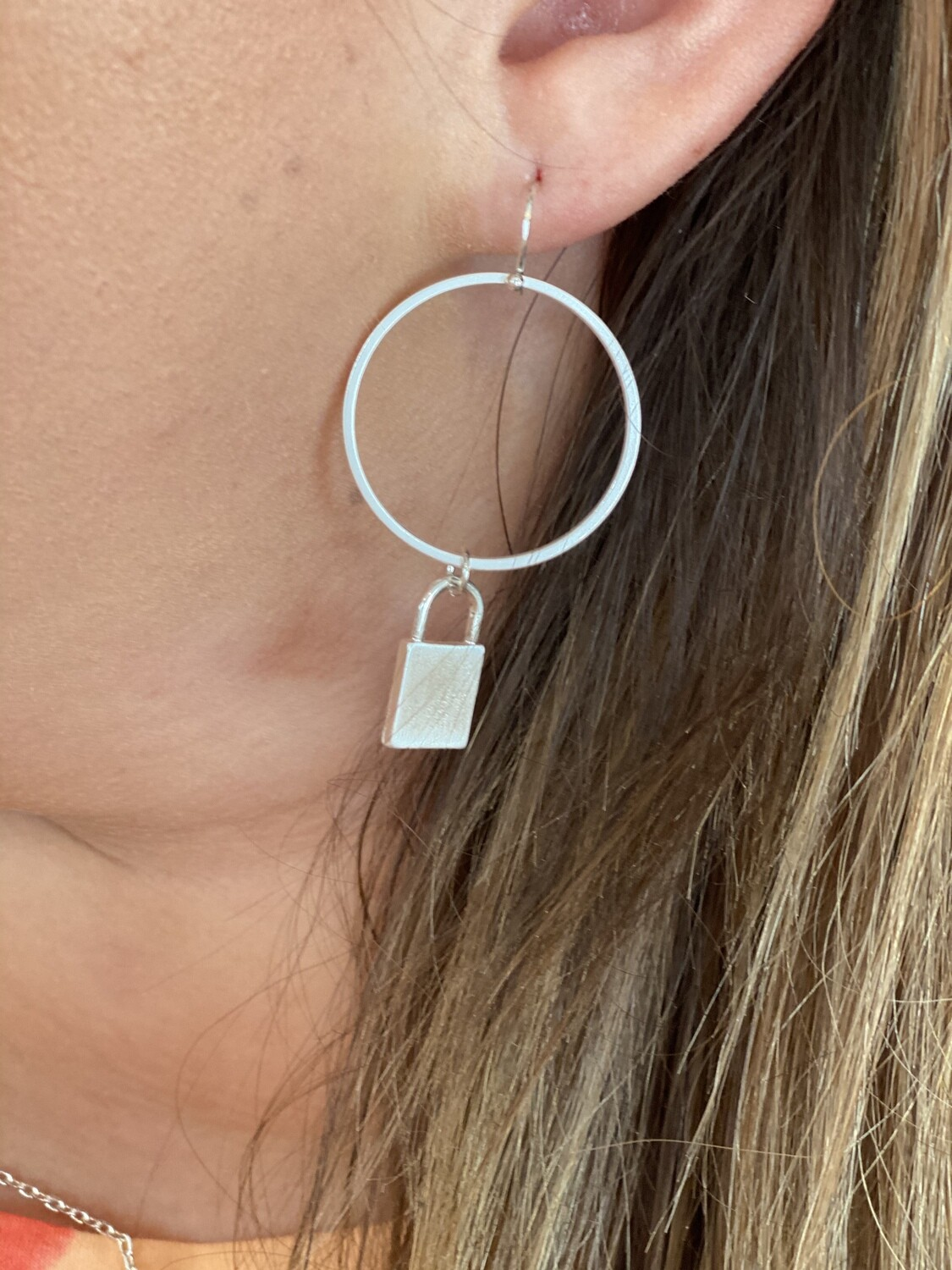 WH Matte Circle with Locket Charm Earrings