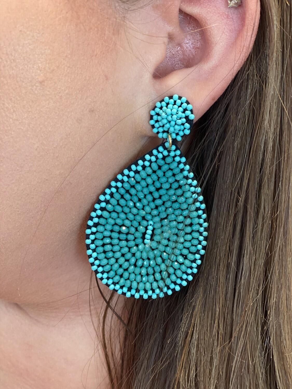 Teal Beaded Teardrop Earrings