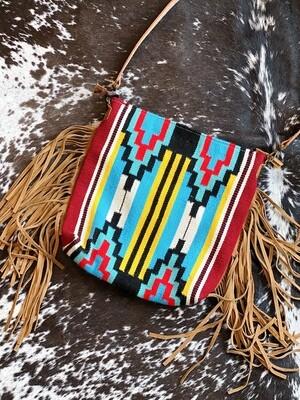 Tooled Leather & Fringe Aztec Purse
