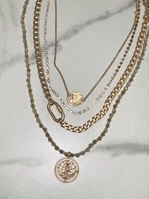 Four Strand Gold Chain Necklace