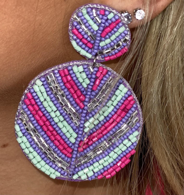 Pastel Beaded Circle Earrings