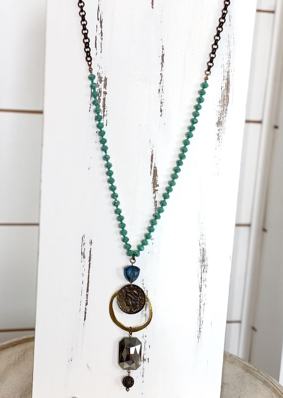 Blue Sparkle Beaded Dangle Necklace