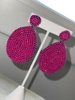 Pink Beaded Teardrop Earrings