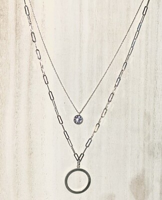 Silver Clear Rhinestone Layered Necklace