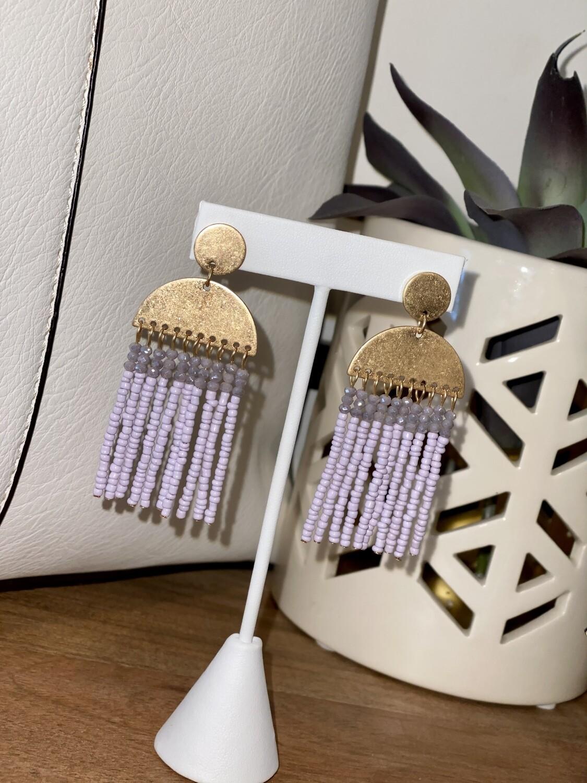 Lilac Half Circle Beaded Dangle Earrings