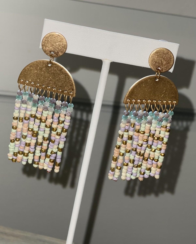WH Multi Seed Bead Tassel Earrings