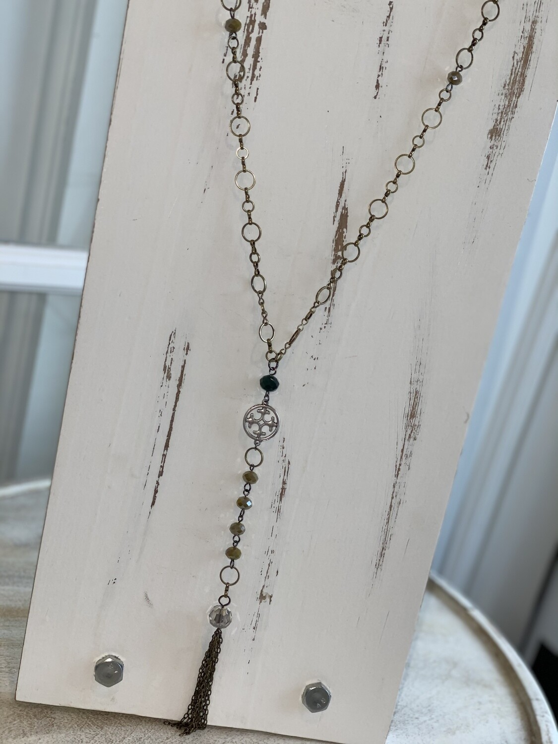 Mixed Tones Simple Brass Tassel Necklace