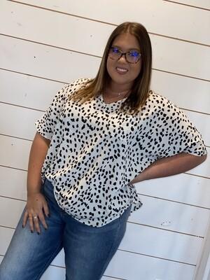 White V-Neck Cheetah Dot Top