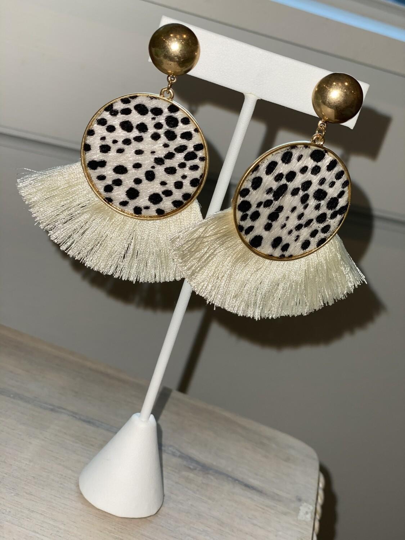 Cream Cheetah Dot Earrings