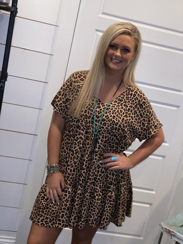 Cheetah V Neck Frock Dress