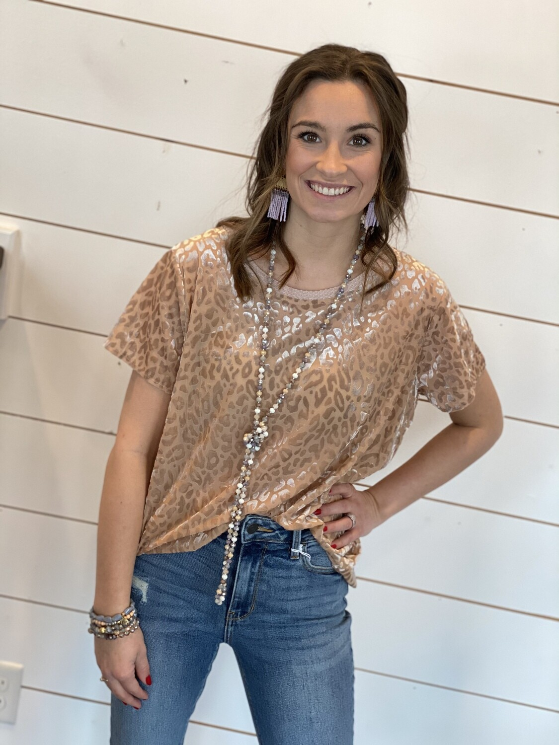 Taupe Burn Out Leopard Top