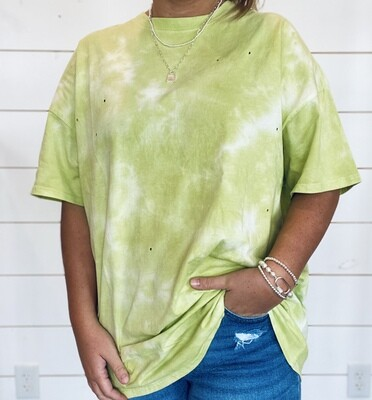 Sage Green Oversized Tie Dye Tee With Hole Details