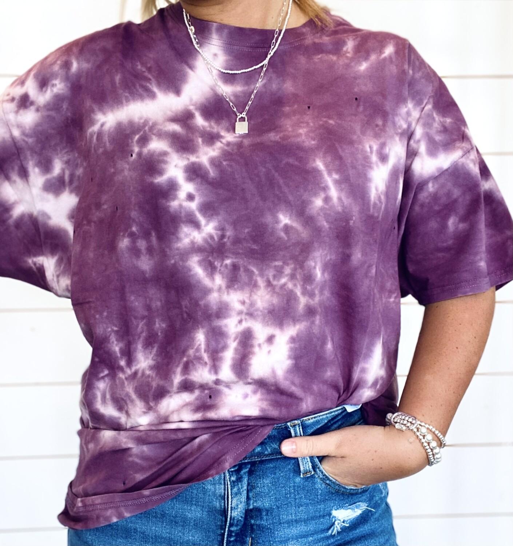 Purple Oversized Tie Dye Tee With Hole Details