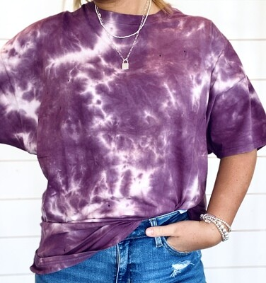 Purple Oversized Tie Dye Tee With Hole Details