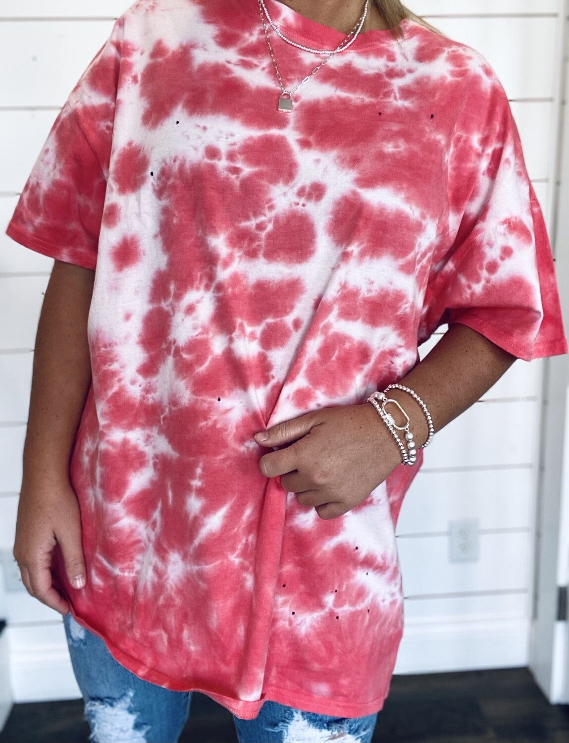 Coral Oversized Tie Dye Tee With Hole Details