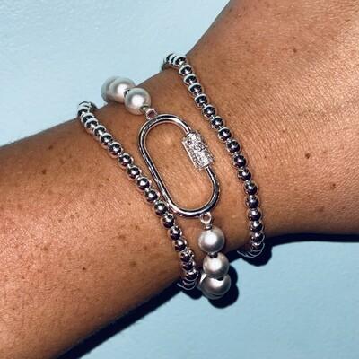 Silver Open Carabiner Bracelet Set