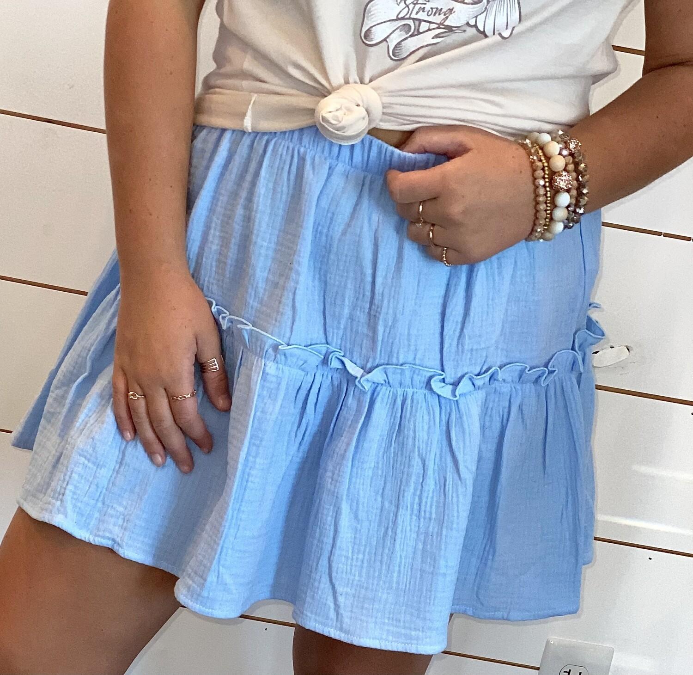 Blue Tiered Skirt