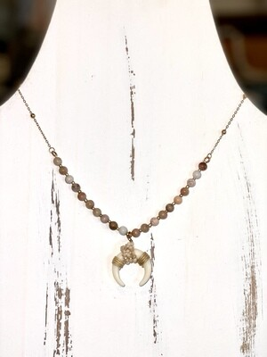 Blush Beaded Bullhorn Necklace