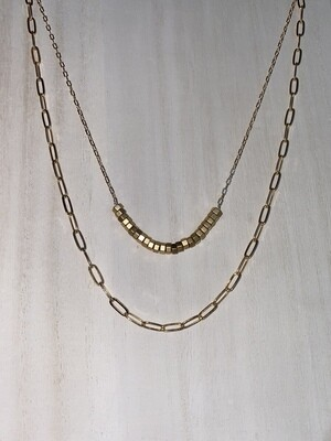 Gold 2 Layer Bead Necklace