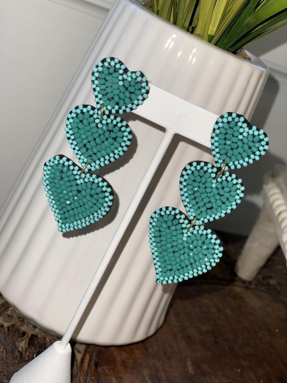 Turquoise Hearts Earrings