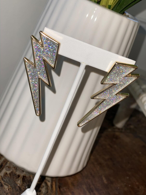 Glitter Lightning Bolt Earrings