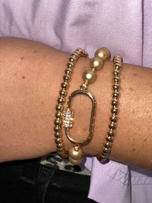Gold Open Carabiner Bracelet Set