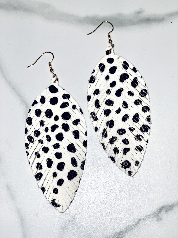 Cheetah Dot Leather Earrings