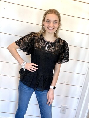 Black Peplum Lace Top
