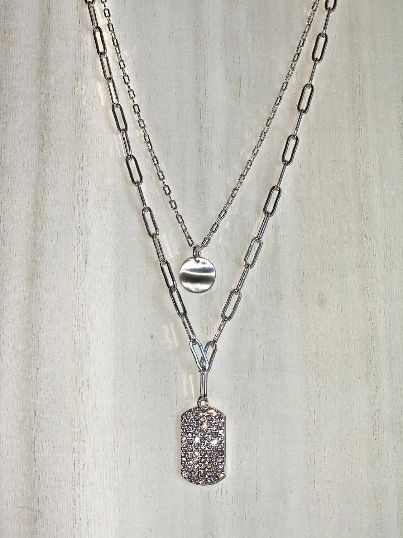 Silver Rhinestone Rectangle Necklace