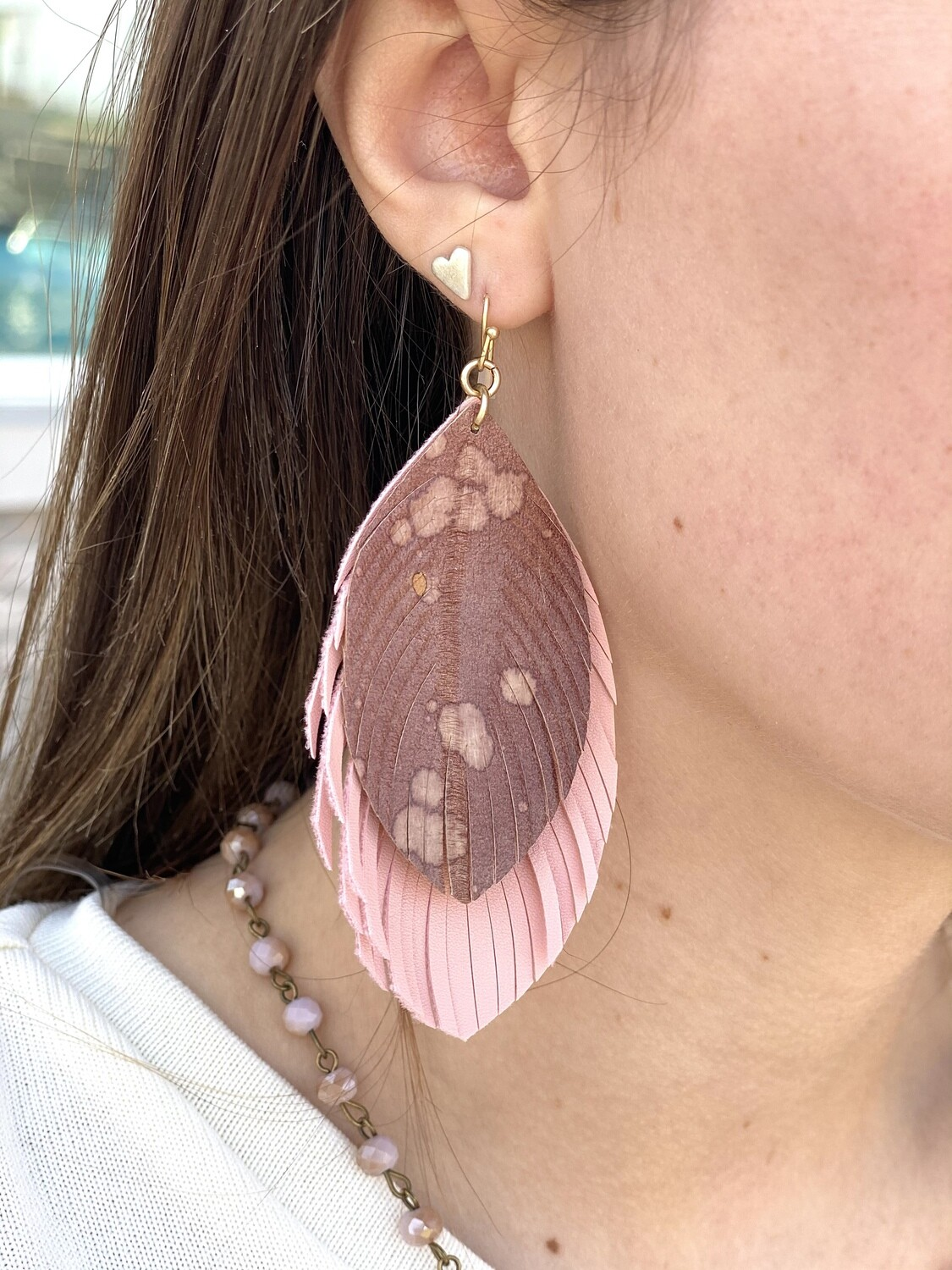 J&C Leather Water Spot Layered Earrings
