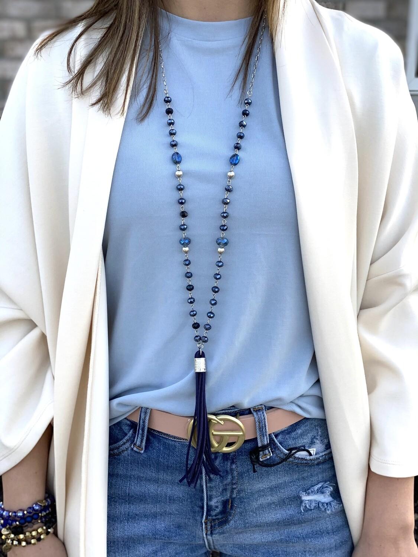 Navy Tassel Beaded Necklace