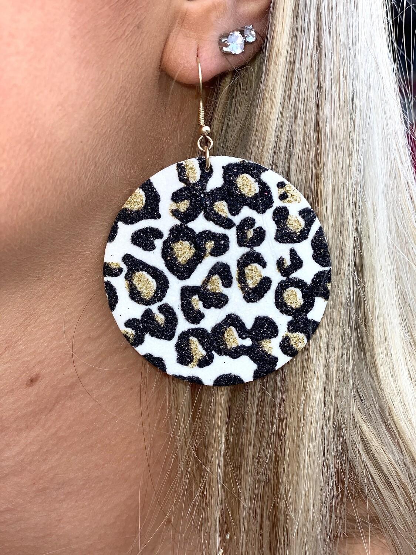 White Cheetah Disc Earrings