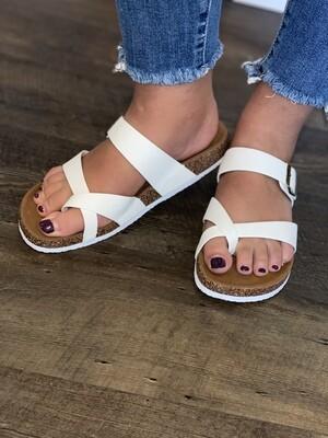 White Slip On Sandal