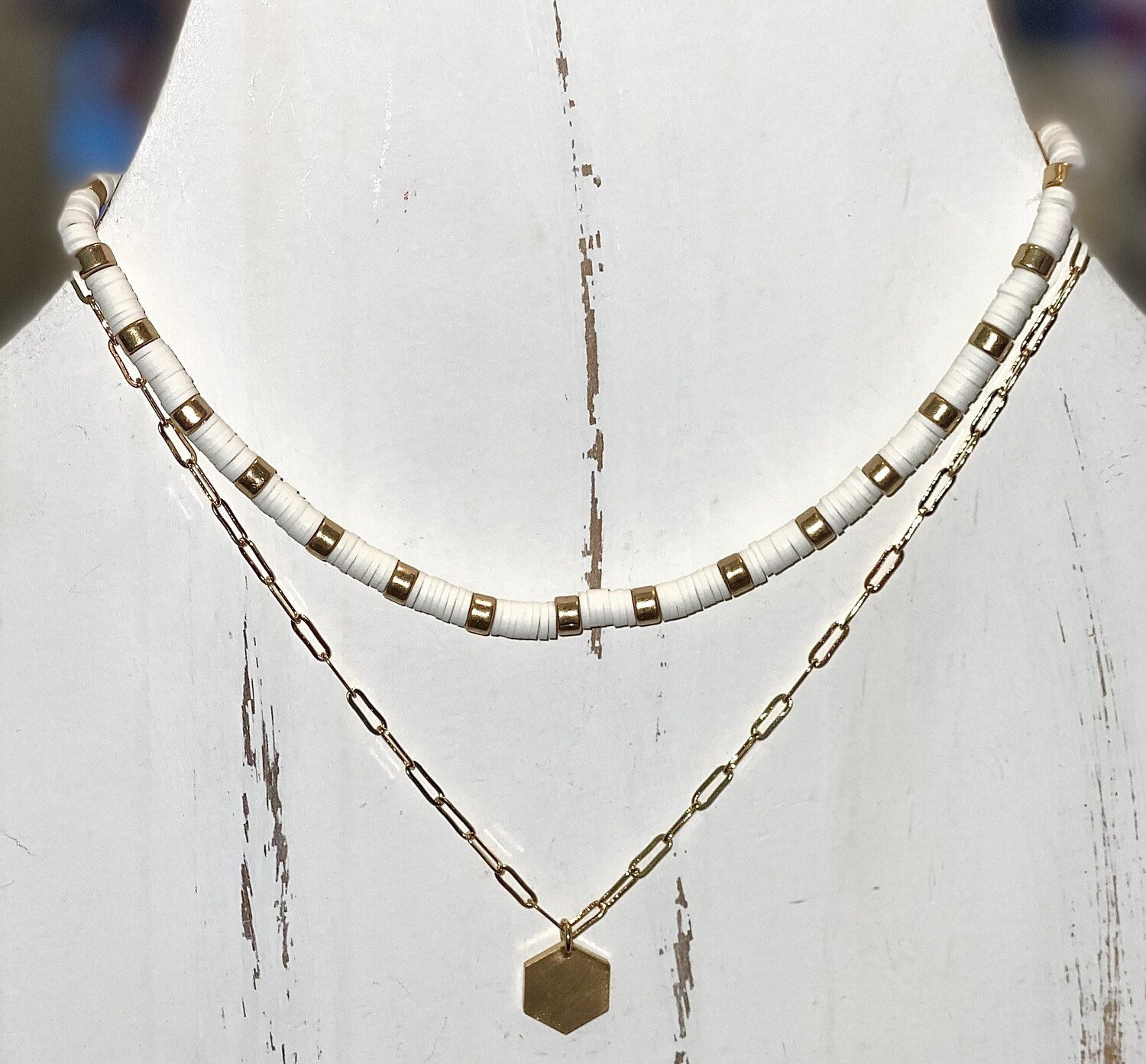 White Rubber Bead Necklace