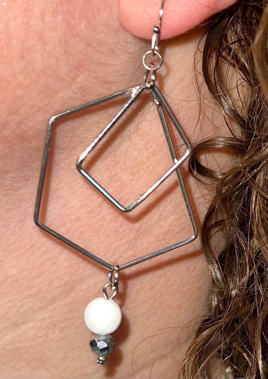 Silver Open Shape Dangle Earrings