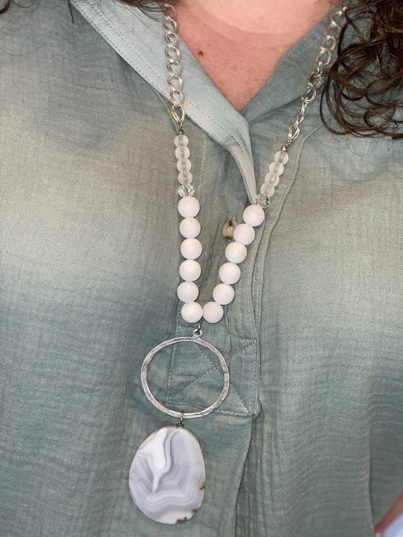 White Beaded Stone Necklace