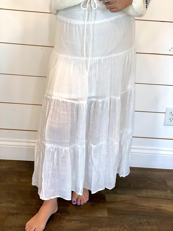 Ivory Tiered Midi Skirt