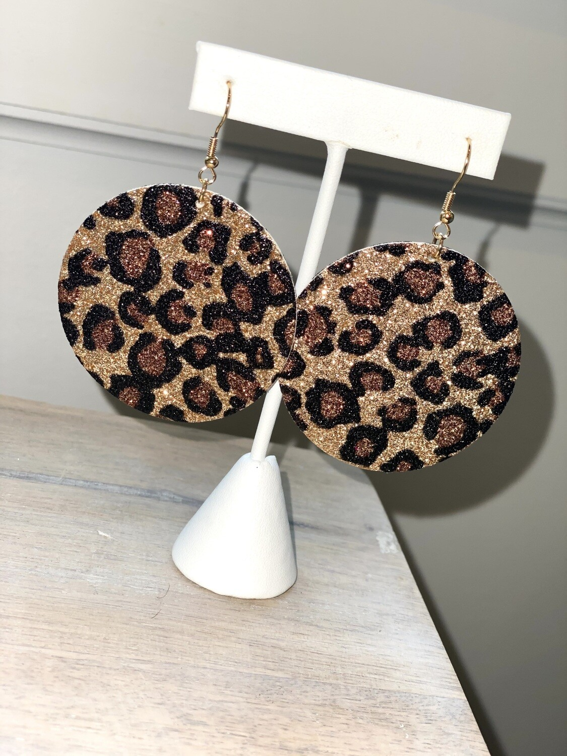Gold Cheetah Disc Earrings