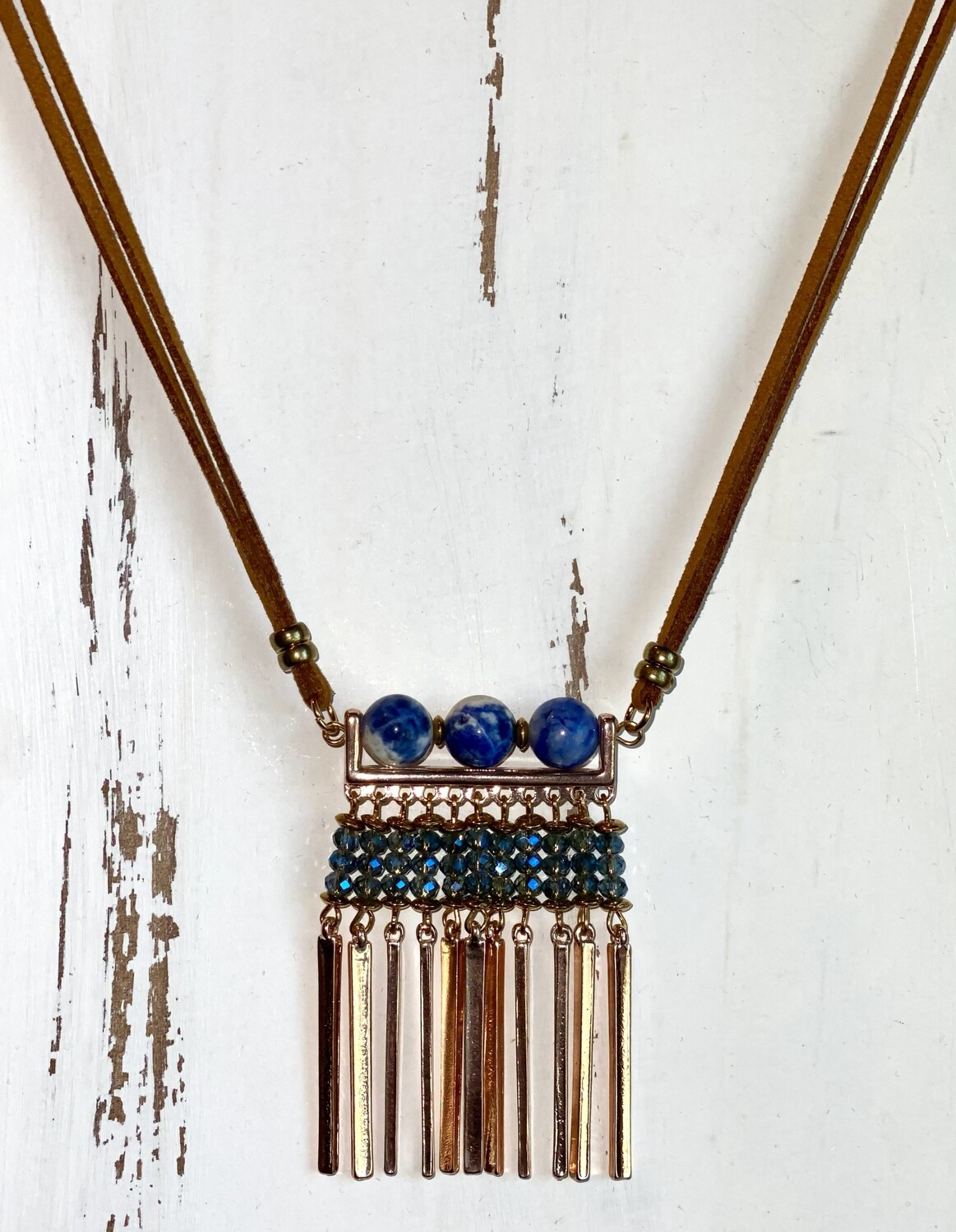 Navy Beaded and Leather Necklace