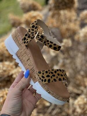 Cheetah Dot Platform Sandals