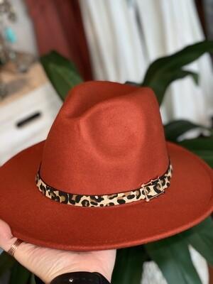 Rust & Cheetah Felt Hat