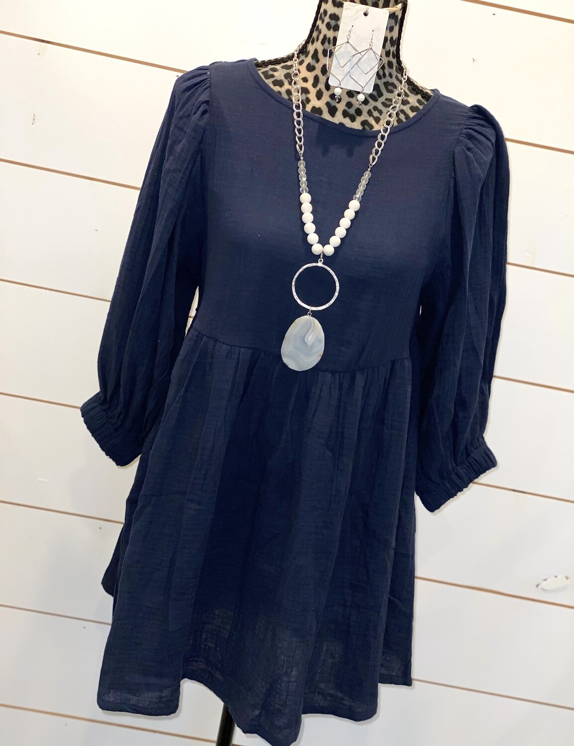 Navy Gauze Dress